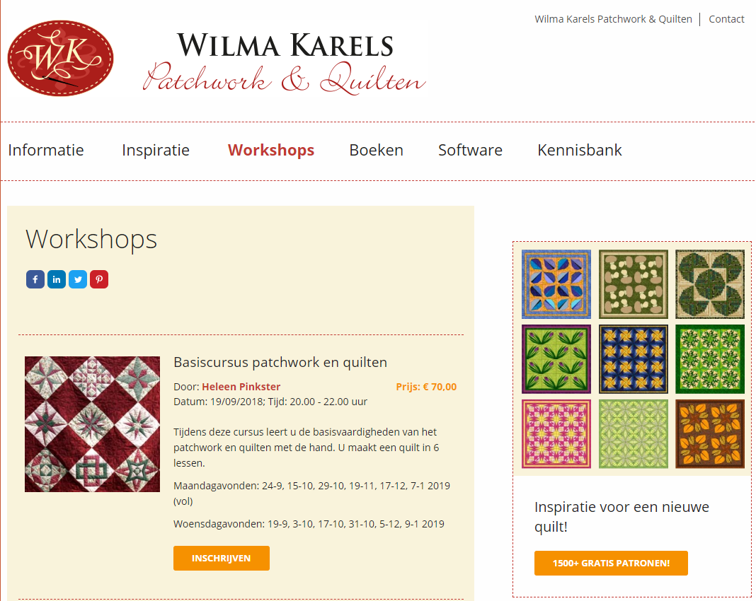 Workshops Wilma Karels